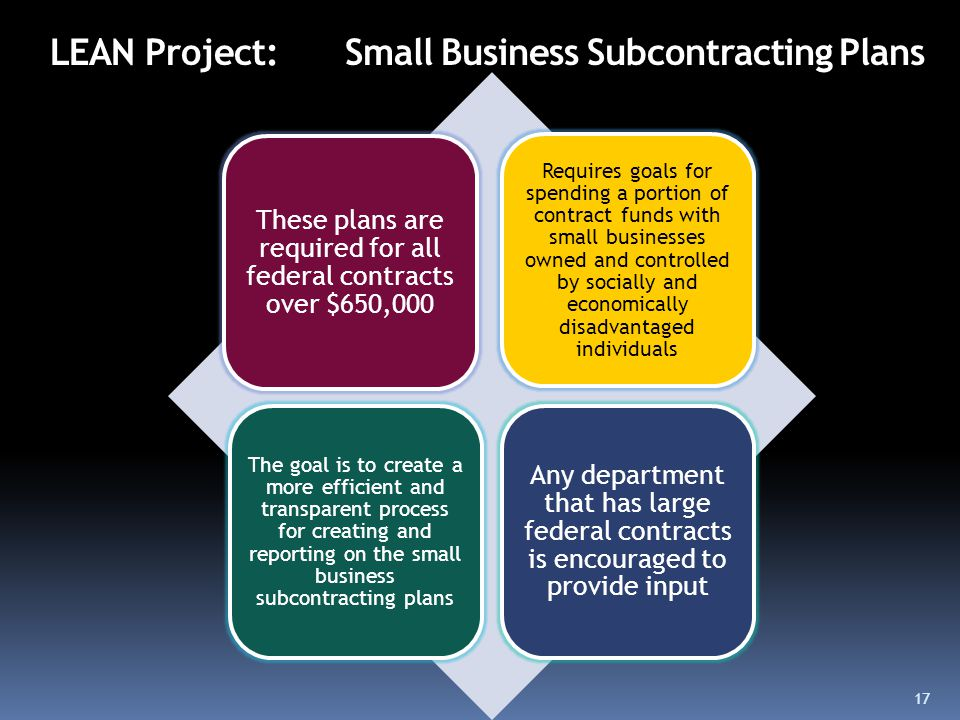 LEAN Project: Small Business Subcontracting Plans These plans are required for all federal contracts over $650,000 Requires goals for spending a portion of contract funds with small businesses owned and controlled by socially and economically disadvantaged individuals The goal is to create a more efficient and transparent process for creating and reporting on the small business subcontracting plans Any department that has large federal contracts is encouraged to provide input 17