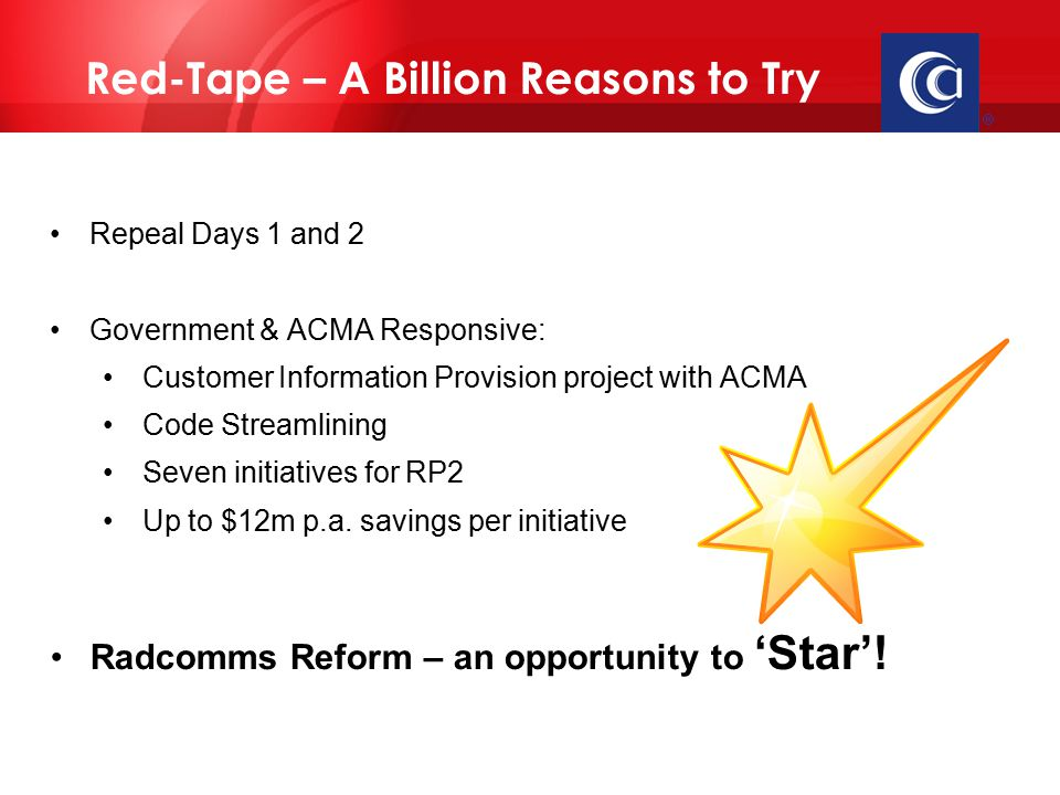  Repeal Days 1 and 2 Government & ACMA Responsive: Customer Information Provision project with ACMA Code Streamlining Seven initiatives for RP2 Up to $12m p.a.