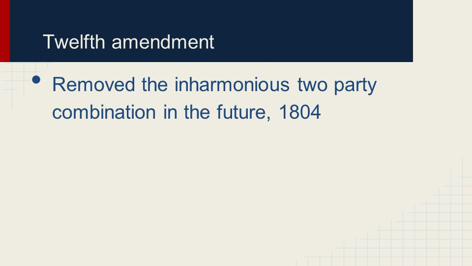 Twelfth amendment Removed the inharmonious two party combination in the future, 1804