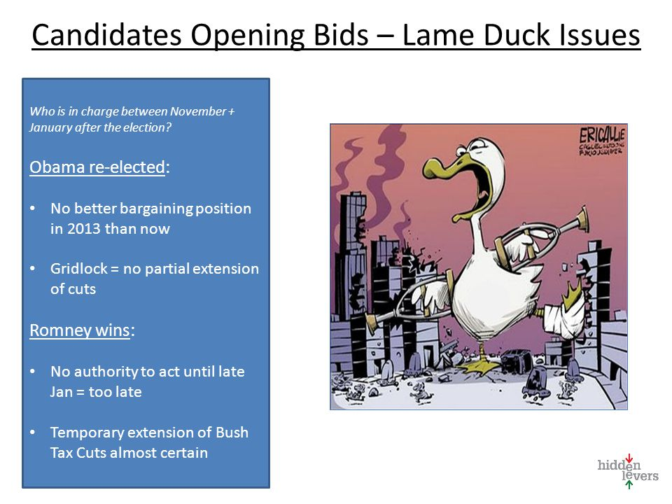 Candidates Opening Bids – Lame Duck Issues Who is in charge between November + January after the election.