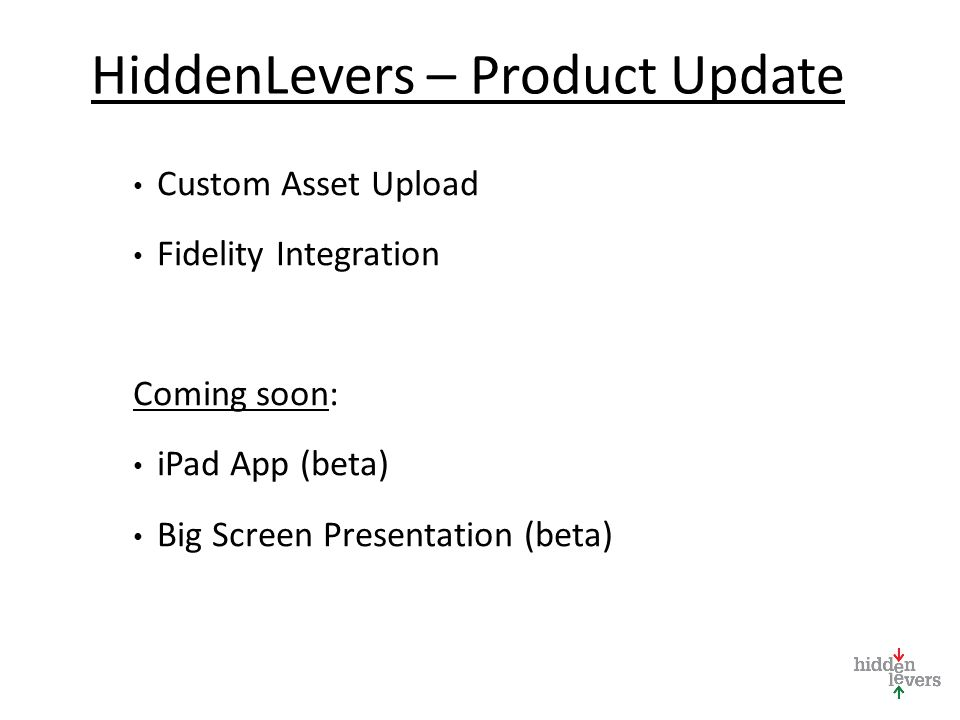 HiddenLevers – Product Update Custom Asset Upload Fidelity Integration Coming soon: iPad App (beta) Big Screen Presentation (beta)