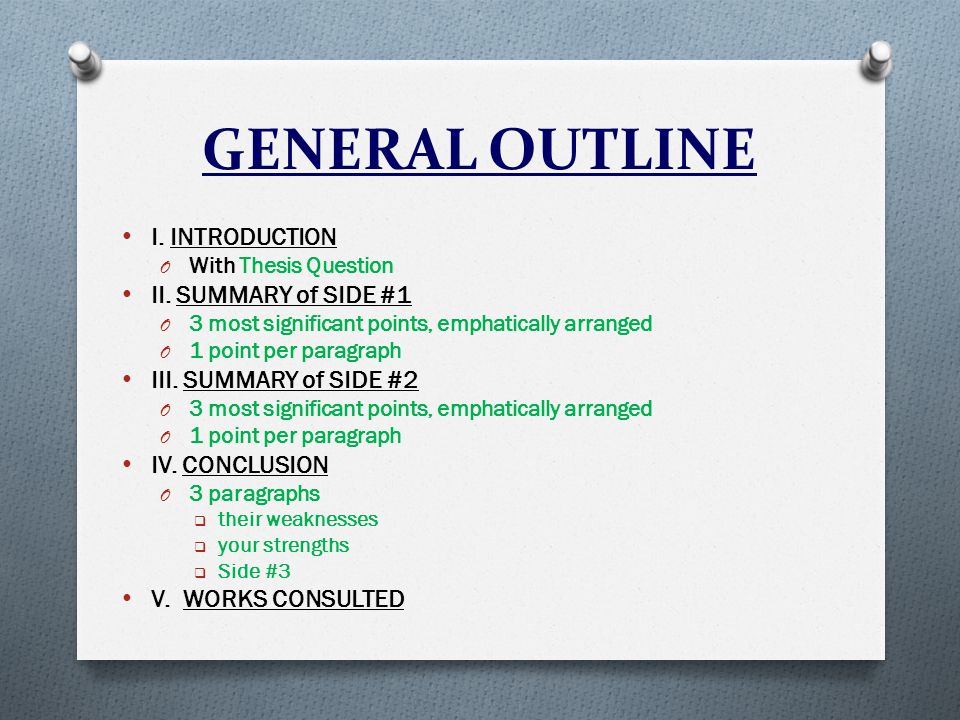 GENERAL OUTLINE I. INTRODUCTION O With Thesis Question II.