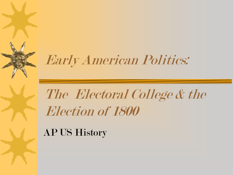 Early American Politics: The Electoral College & the Election of 1800 AP US History