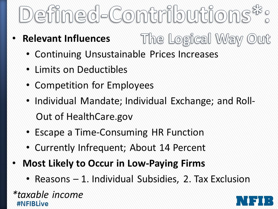 #NFIBLive Relevant Influences Continuing Unsustainable Prices Increases Limits on Deductibles Competition for Employees Individual Mandate; Individual