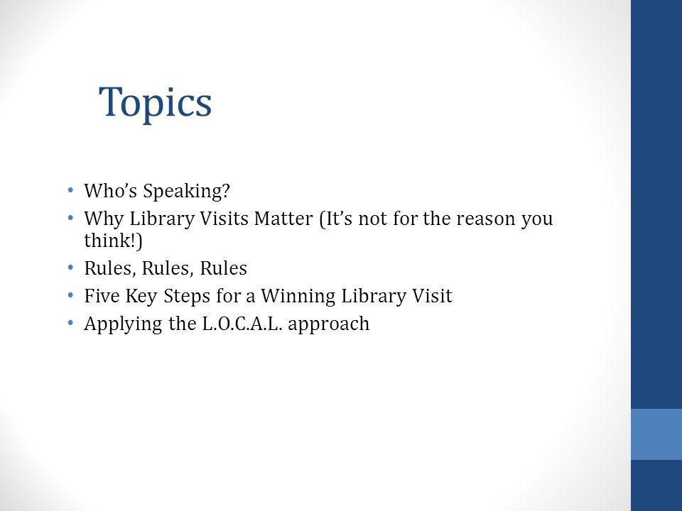 Topics Who's Speaking.