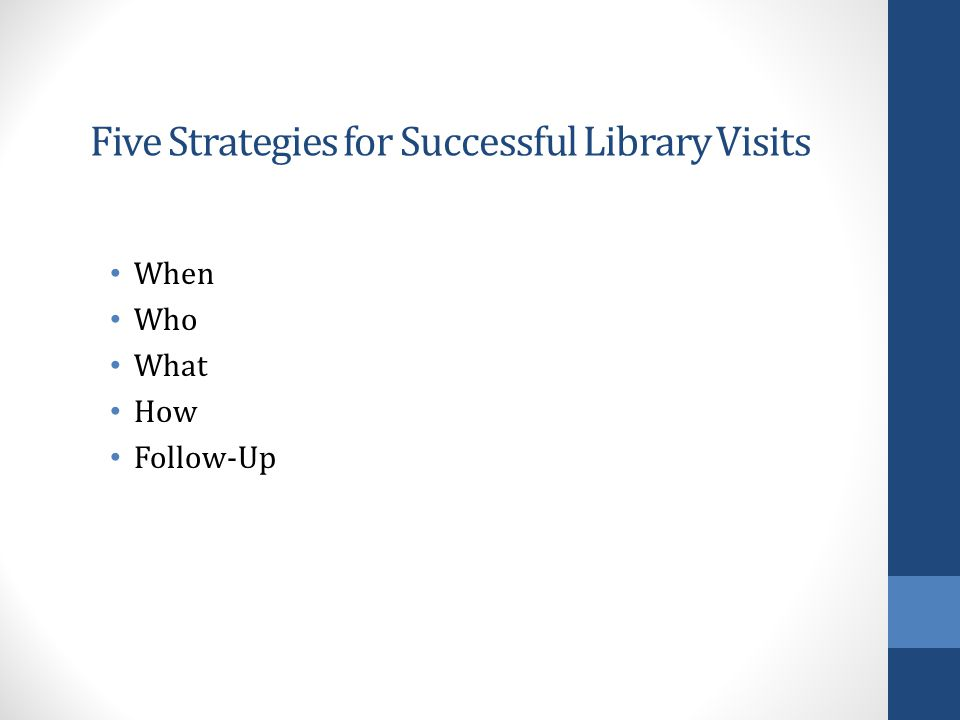 Five Strategies for Successful Library Visits When Who What How Follow-Up