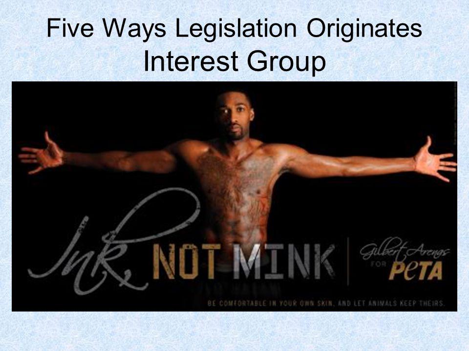 Five Ways Legislation Originates Interest Group