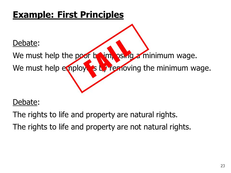 23 Example: First Principles Debate: We must help the poor by imposing a minimum wage. We must help employers by removing the minimum wage. F A I L De