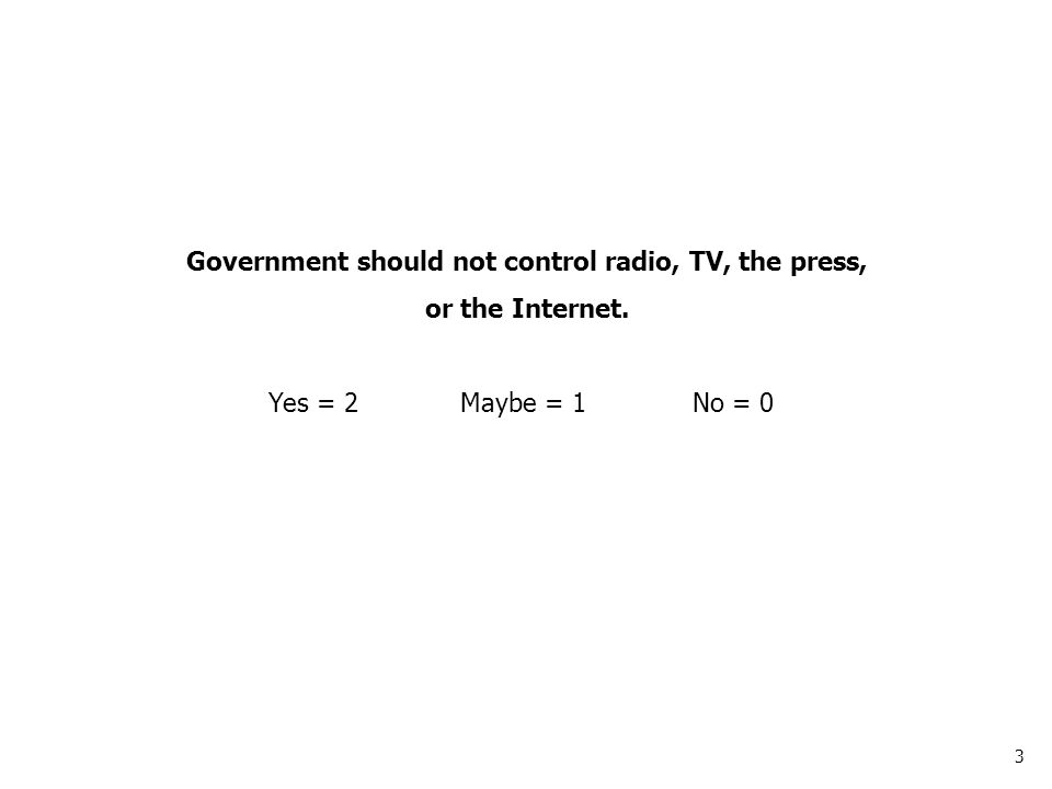 3 Government should not control radio, TV, the press, or the Internet. Yes = 2Maybe = 1No = 0