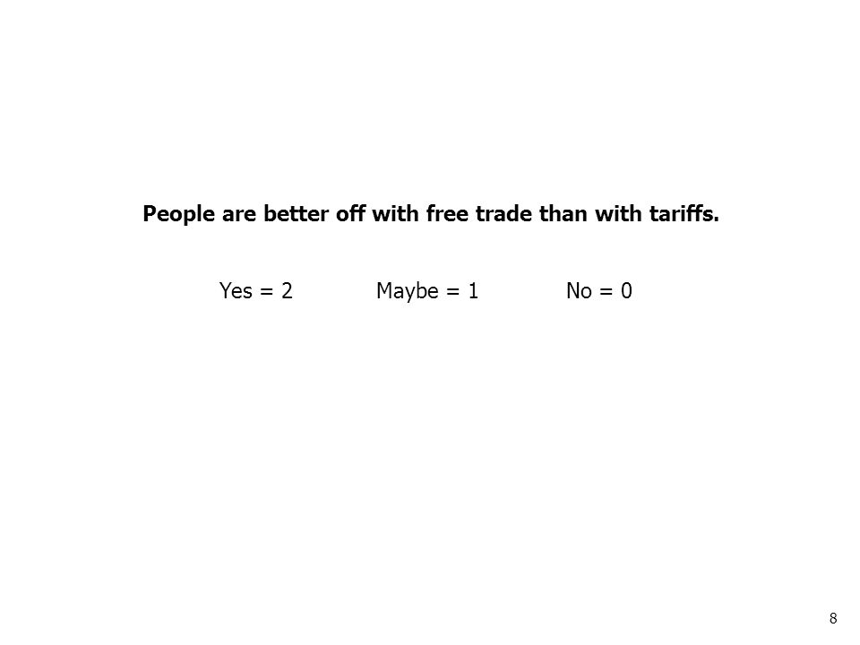 8 People are better off with free trade than with tariffs. Yes = 2Maybe = 1No = 0