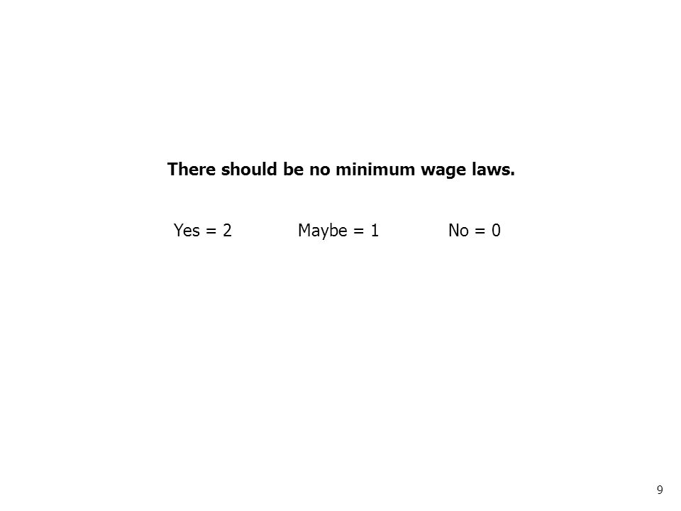 10 Government services should be paid for with user fees, not taxes. Yes = 2Maybe = 1No = 0