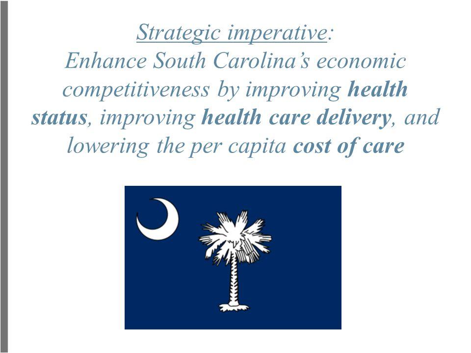 Strategic imperative: Enhance South Carolina's economic competitiveness by improving health status, improving health care delivery, and lowering the per capita cost of care