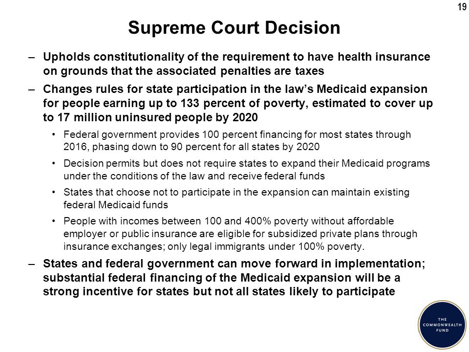 19 Supreme Court Decision –Upholds constitutionality of the requirement to have health insurance on grounds that the associated penalties are taxes –Changes rules for state participation in the law's Medicaid expansion for people earning up to 133 percent of poverty, estimated to cover up to 17 million uninsured people by 2020 Federal government provides 100 percent financing for most states through 2016, phasing down to 90 percent for all states by 2020 Decision permits but does not require states to expand their Medicaid programs under the conditions of the law and receive federal funds States that choose not to participate in the expansion can maintain existing federal Medicaid funds People with incomes between 100 and 400% poverty without affordable employer or public insurance are eligible for subsidized private plans through insurance exchanges; only legal immigrants under 100% poverty.