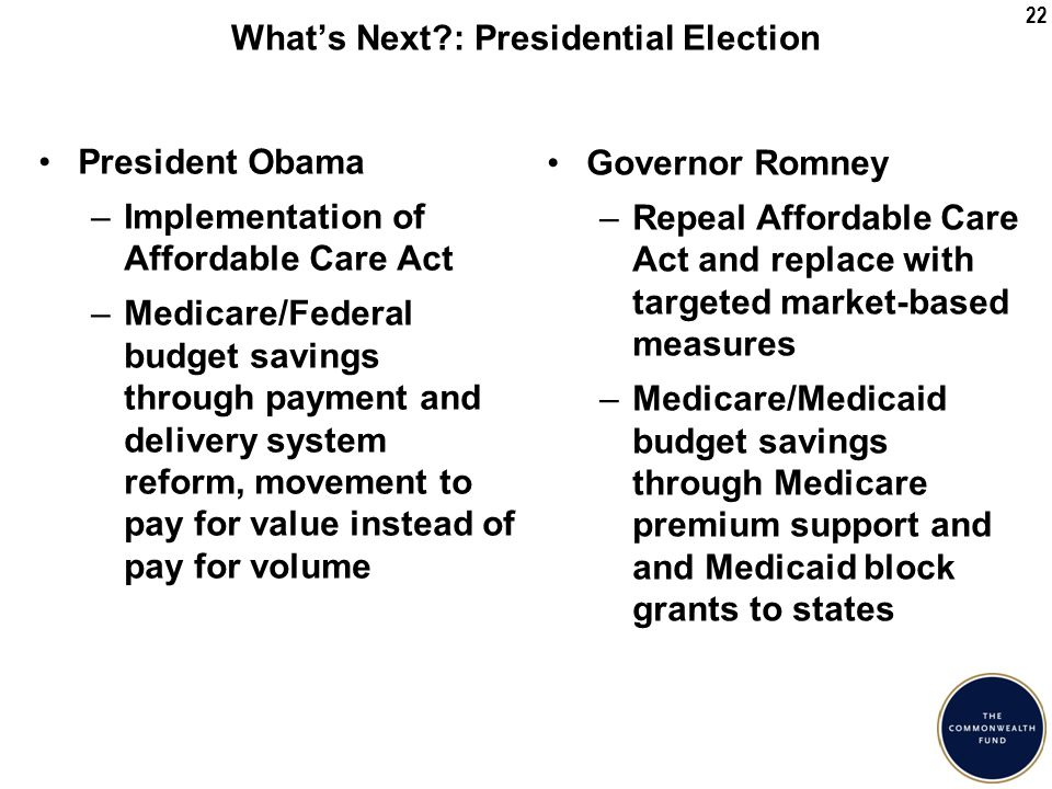 22 What's Next : Presidential Election President Obama –Implementation of Affordable Care Act –Medicare/Federal budget savings through payment and delivery system reform, movement to pay for value instead of pay for volume Governor Romney –Repeal Affordable Care Act and replace with targeted market-based measures –Medicare/Medicaid budget savings through Medicare premium support and and Medicaid block grants to states