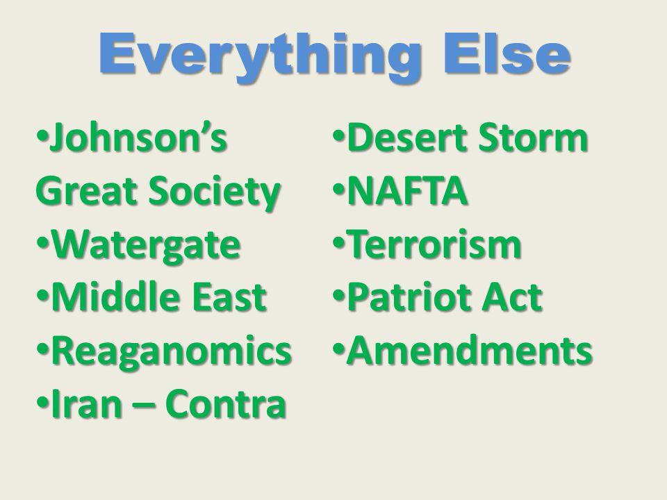 Everything Else Johnson's Great Society Johnson's Great Society Watergate Watergate Middle East Middle East Reaganomics Reaganomics Iran – Contra Iran