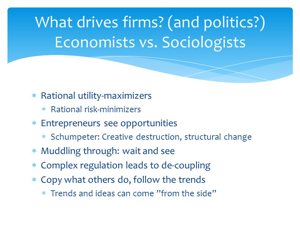  Rational utility-maximizers  Rational risk-minimizers  Entrepreneurs see opportunities  Schumpeter: Creative destruction, structural change  Mud