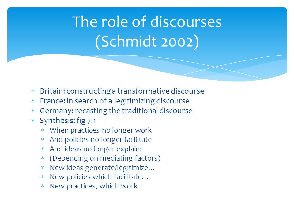 Britain: constructing a transformative discourse  France: in search of a legitimizing discourse  Germany: recasting the traditional discourse  Sy