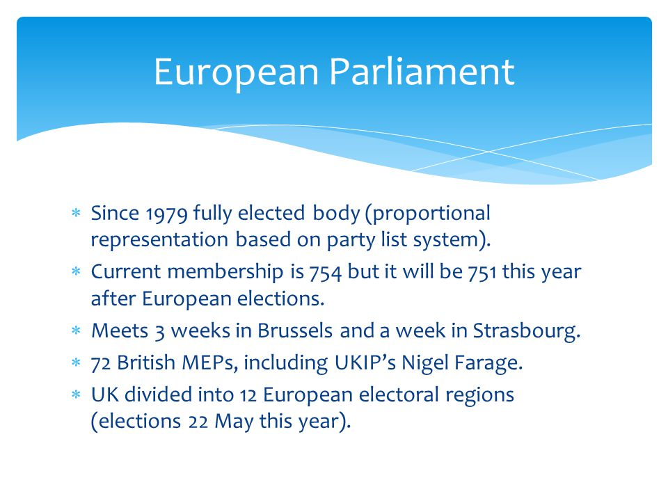  Since 1979 fully elected body (proportional representation based on party list system).