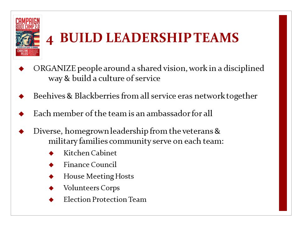 4 BUILD LEADERSHIP TEAMS  ORGANIZE people around a shared vision, work in a disciplined way & build a culture of service  Beehives & Blackberries fr