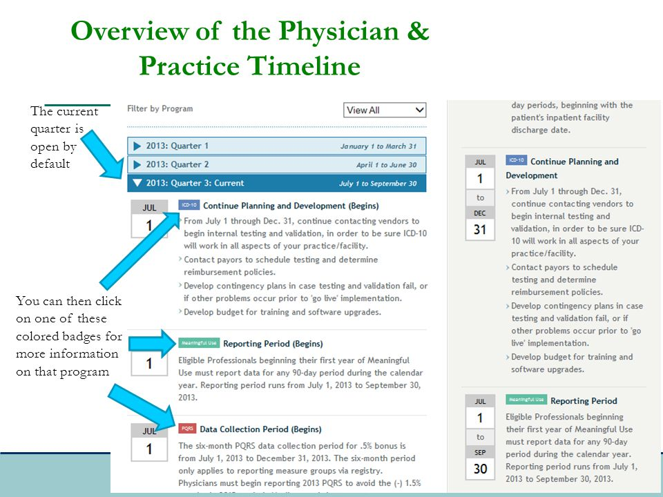 The current quarter is open by default You can then click on one of these colored badges for more information on that program Overview of the Physician & Practice Timeline