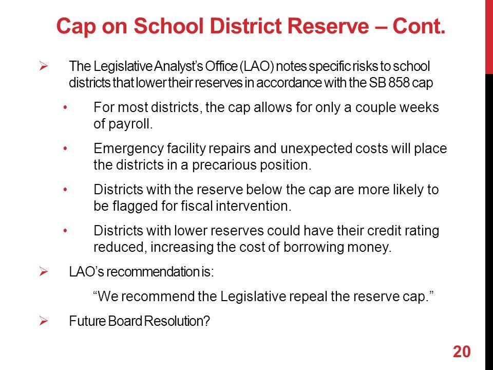 Cap on School District Reserve – Cont.