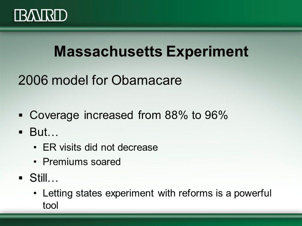 Massachusetts Experiment 2006 model for Obamacare  Coverage increased from 88% to 96%  But… ER visits did not decrease Premiums soared  Still… Letting states experiment with reforms is a powerful tool