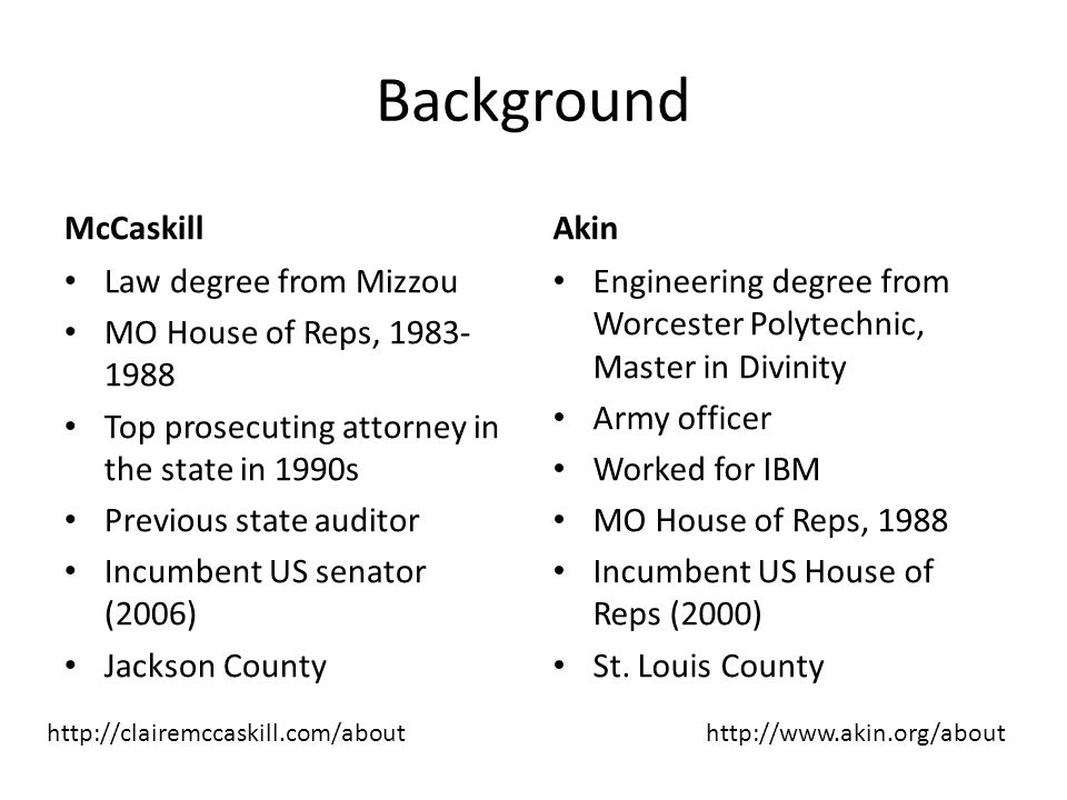 Background McCaskill Law degree from Mizzou MO House of Reps, 1983- 1988 Top prosecuting attorney in the state in 1990s Previous state auditor Incumbe