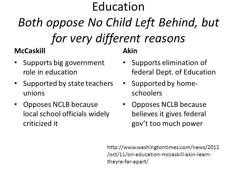 Education Both oppose No Child Left Behind, but for very different reasons McCaskill Supports big government role in education Supported by state teac