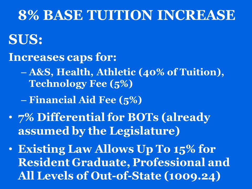 8% BASE TUITION INCREASE SUS: Increases caps for: – A&S, Health, Athletic (40% of Tuition), Technology Fee (5%) – Financial Aid Fee (5%) 7% Differential for BOTs (already assumed by the Legislature) Existing Law Allows Up To 15% for Resident Graduate, Professional and All Levels of Out-of-State (1009.24)