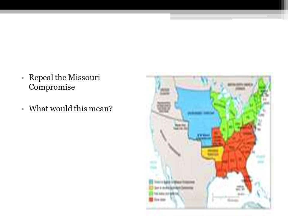 Repeal the Missouri Compromise What would this mean?