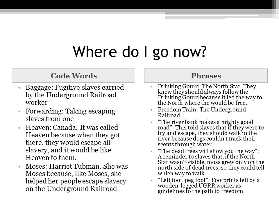 Where do I go now? Code WordsPhrases Baggage: Fugitive slaves carried by the Underground Railroad worker Forwarding: Taking escaping slaves from one H