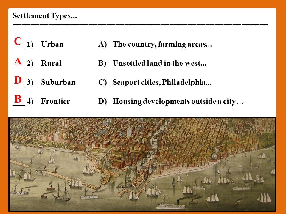 Settlement Types...