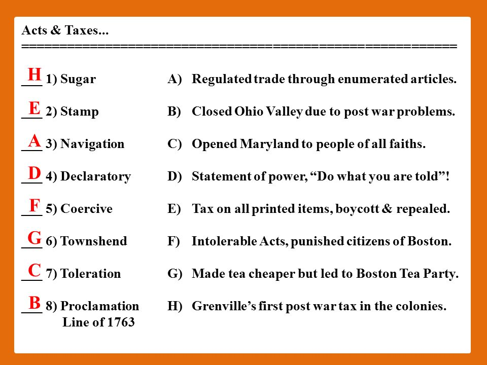 Acts & Taxes...