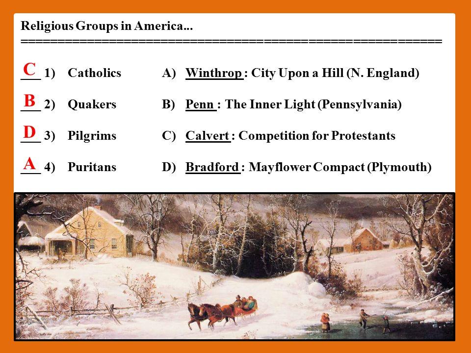 Religious Groups in America...