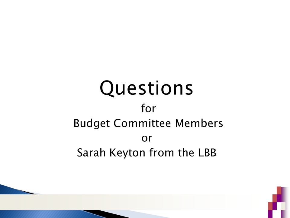 Questions for Budget Committee Members or Sarah Keyton from the LBB