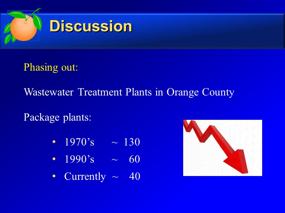 Phasing out: Wastewater Treatment Plants in Orange County Package plants: 1970's ~ 130 1990's ~ 60 Currently ~ 40 Discussion