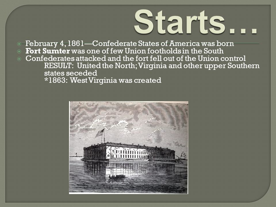  February 4, 1861—Confederate States of America was born  Fort Sumter was one of few Union footholds in the South  Confederates attacked and the fo