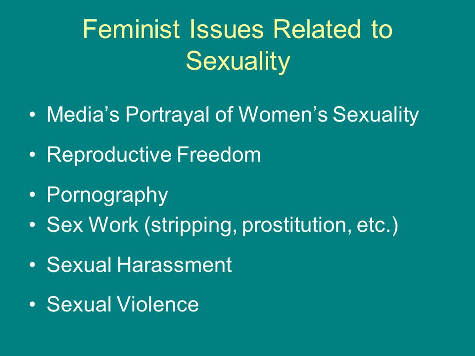Feminist Issues Related to Sexuality Media's Portrayal of Women's Sexuality Reproductive Freedom Pornography Sex Work (stripping, prostitution, etc.)