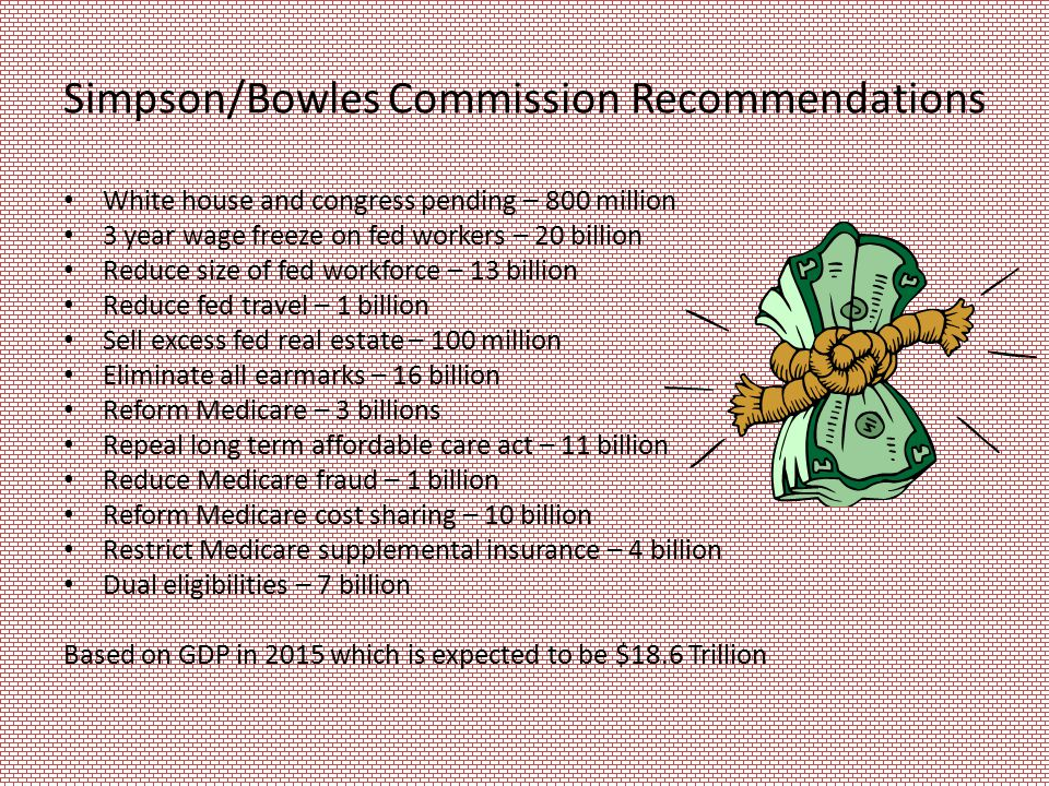 Simpson/Bowles Commission Recommendations White house and congress pending – 800 million 3 year wage freeze on fed workers – 20 billion Reduce size of fed workforce – 13 billion Reduce fed travel – 1 billion Sell excess fed real estate – 100 million Eliminate all earmarks – 16 billion Reform Medicare – 3 billions Repeal long term affordable care act – 11 billion Reduce Medicare fraud – 1 billion Reform Medicare cost sharing – 10 billion Restrict Medicare supplemental insurance – 4 billion Dual eligibilities – 7 billion Based on GDP in 2015 which is expected to be $18.6 Trillion