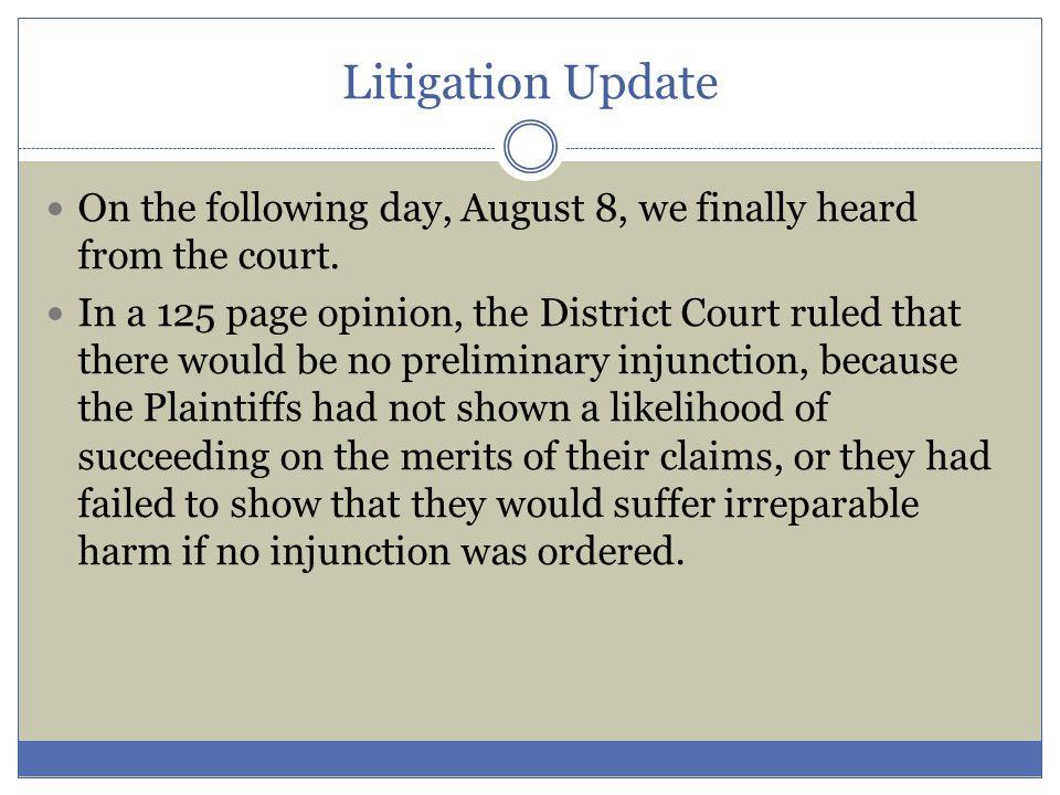 Litigation Update Questions?
