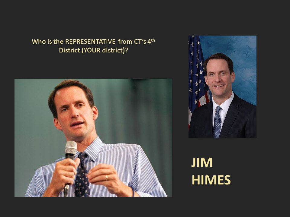 Who is the REPRESENTATIVE from CT's 4 th District (YOUR district) JIM HIMES