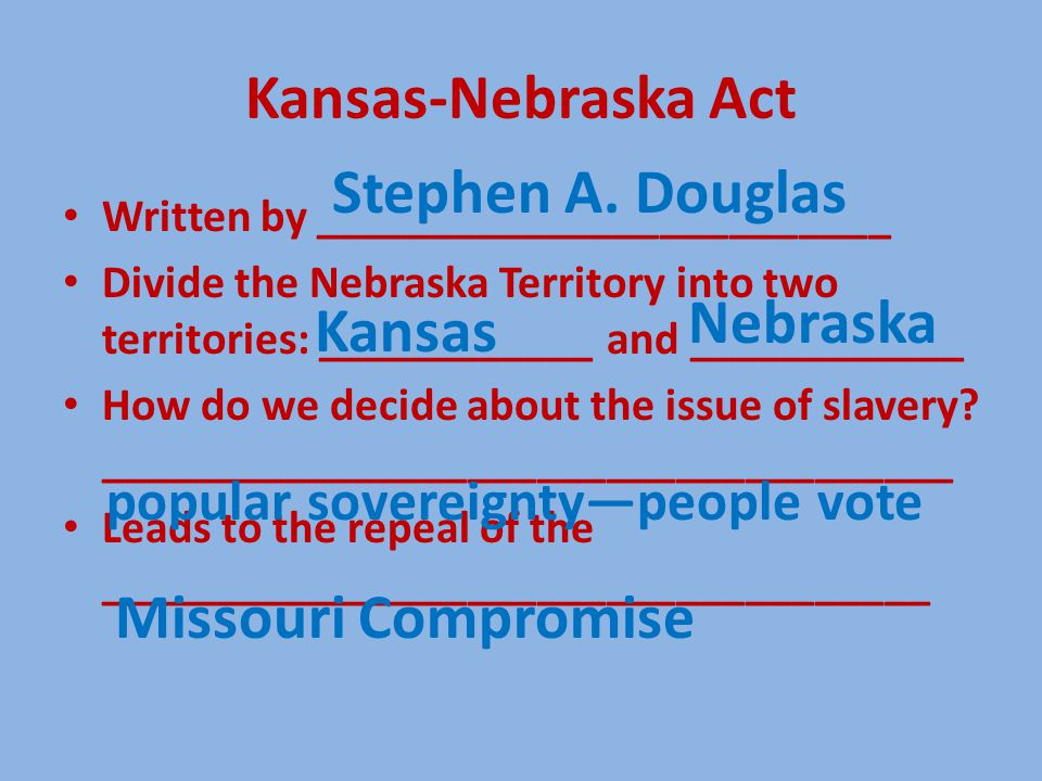 Kansas-Nebraska Act Written by _________________________ Divide the Nebraska Territory into two territories: ____________ and ____________ How do we d