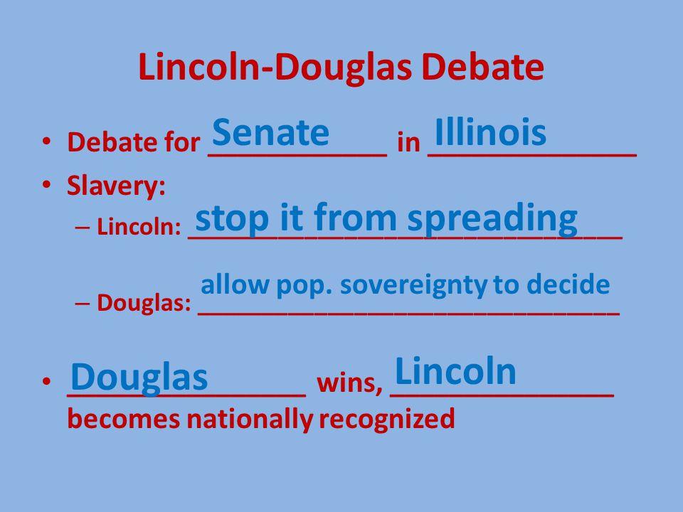 Lincoln-Douglas Debate Debate for ____________ in ______________ Slavery: – Lincoln: _________________________________ – Douglas: ________________________________ ________________ wins, _______________ becomes nationally recognized stop it from spreading Lincoln Douglas IllinoisSenate allow pop.