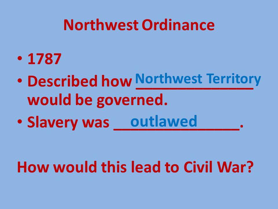 Northwest Ordinance 1787 Described how ______________ would be governed.