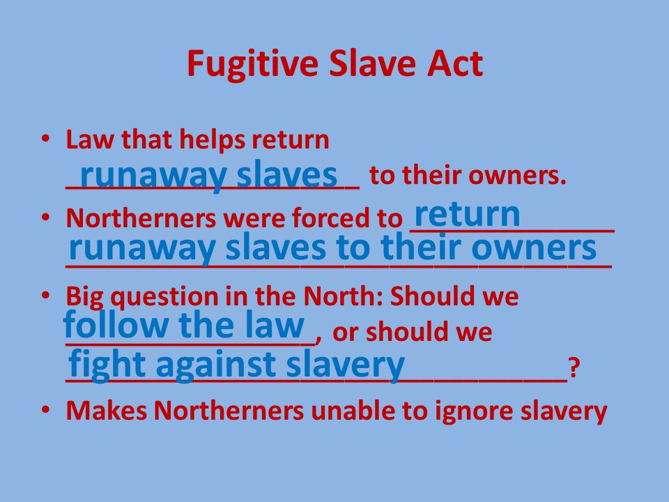 Fugitive Slave Act Law that helps return ____________________ to their owners.