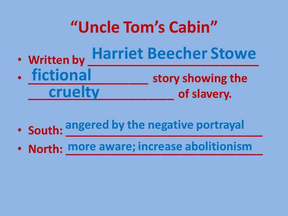 Uncle Tom's Cabin Written by ___________________________ ___________________ story showing the _______________________ of slavery.