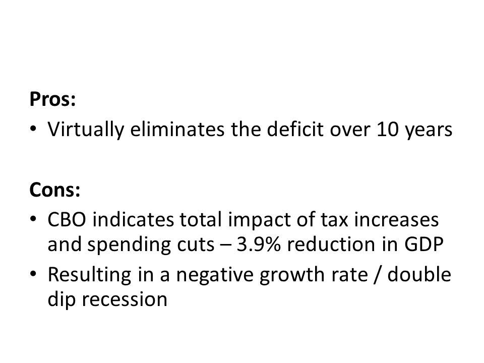Pros: Virtually eliminates the deficit over 10 years Cons: CBO indicates total impact of tax increases and spending cuts – 3.9% reduction in GDP Resul