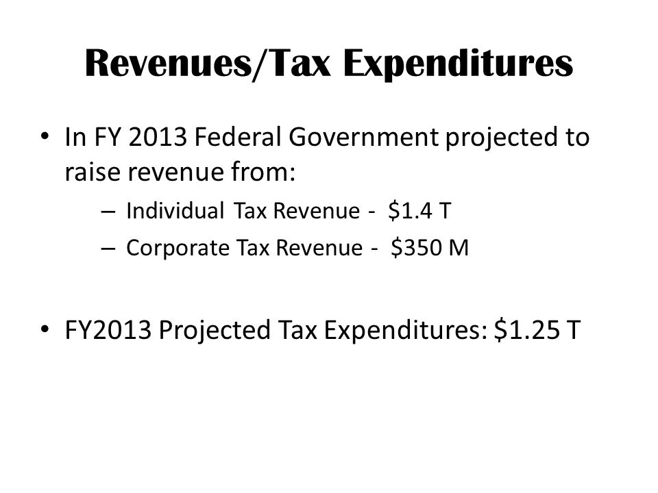Revenues/Tax Expenditures In FY 2013 Federal Government projected to raise revenue from: – Individual Tax Revenue - $1.4 T – Corporate Tax Revenue - $350 M FY2013 Projected Tax Expenditures: $1.25 T