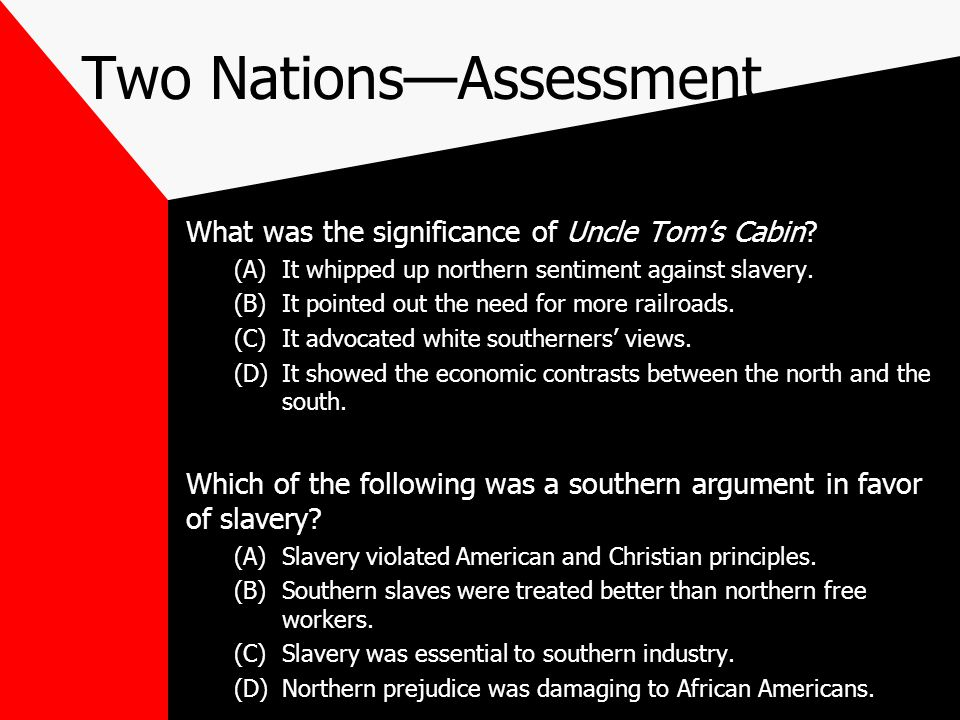 Competing Visions The North and the South held competing visions of what American society should become. These differences, as well as economic contra