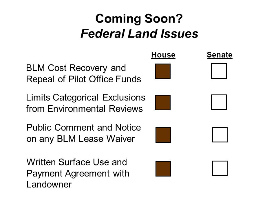 Coming Soon? Federal Land Issues HouseSenate BLM Cost Recovery and Repeal of Pilot Office Funds Limits Categorical Exclusions from Environmental Revie